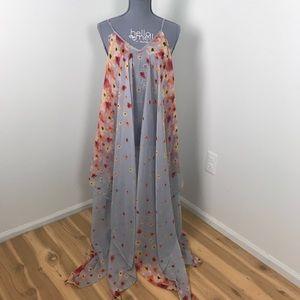 D&Y floor length sheer floral print lingerie gown